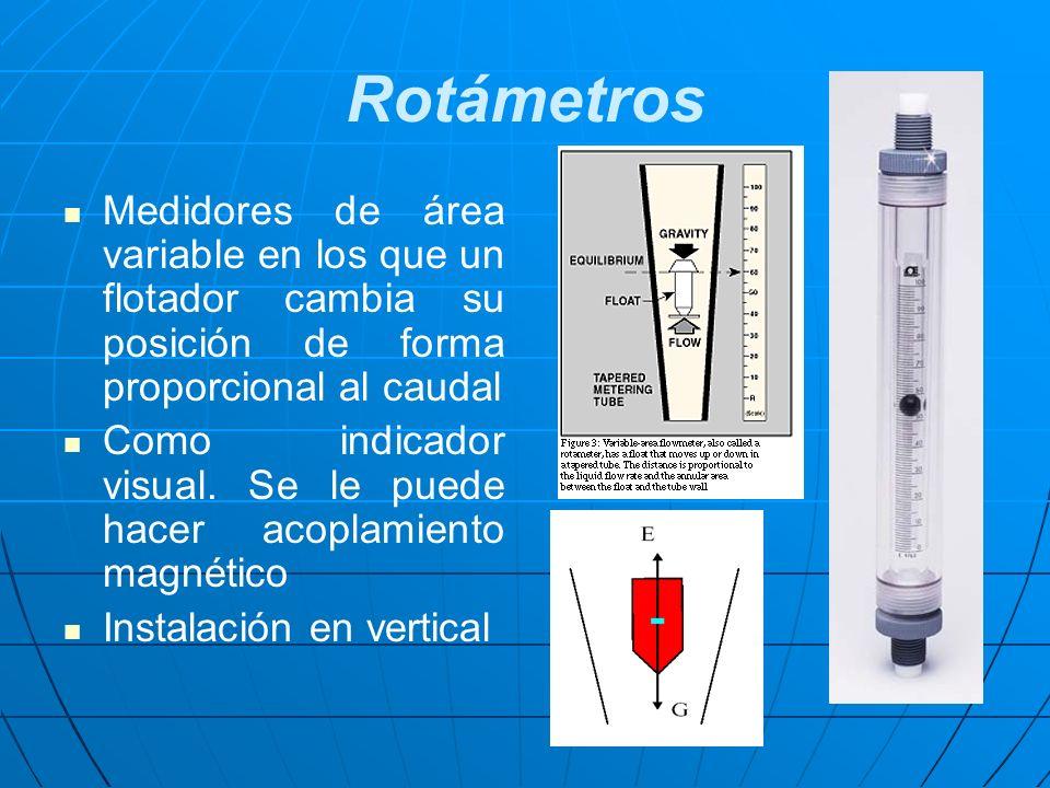 Rotámetros Medidores de área variable en los que un flotador cambia su posición de forma proporcional al caudal Como indicador visual. Se le puede hac