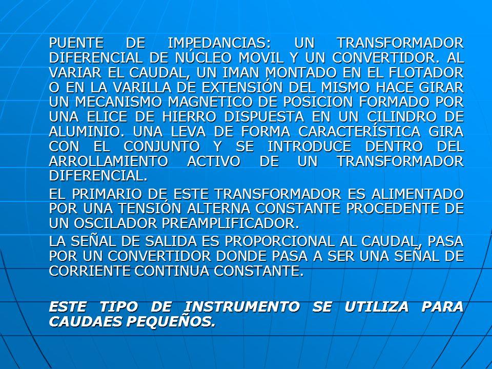 PUENTE DE IMPEDANCIAS: UN TRANSFORMADOR DIFERENCIAL DE NÚCLEO MOVIL Y UN CONVERTIDOR. AL VARIAR EL CAUDAL, UN IMAN MONTADO EN EL FLOTADOR O EN LA VARI