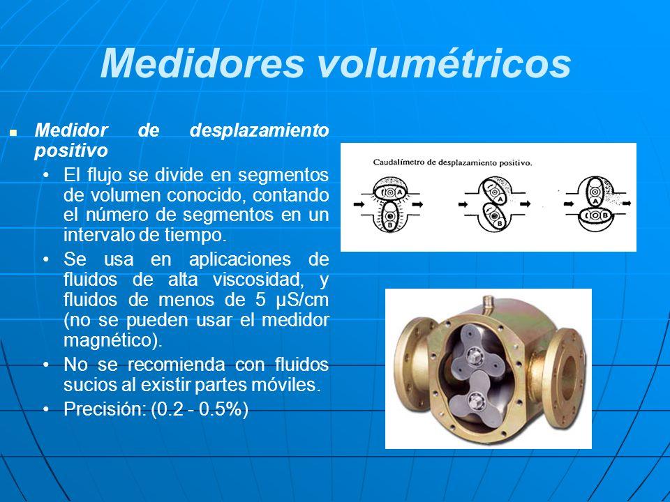 Medidor de desplazamiento positivo El flujo se divide en segmentos de volumen conocido, contando el número de segmentos en un intervalo de tiempo. Se