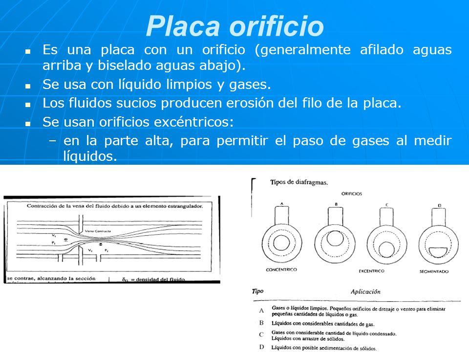 Placa orificio Es una placa con un orificio (generalmente afilado aguas arriba y biselado aguas abajo). Se usa con líquido limpios y gases. Los fluido