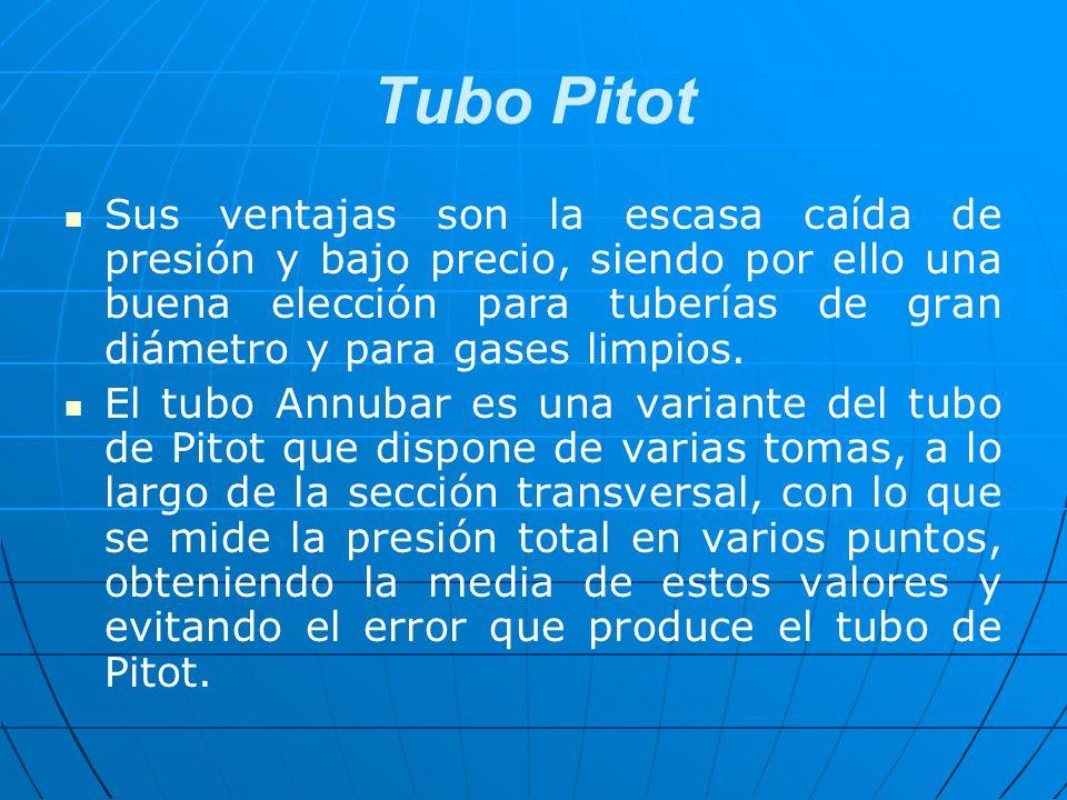 Tubo Pitot Sus ventajas son la escasa caída de presión y bajo precio, siendo por ello una buena elección para tuberías de gran diámetro y para gases l