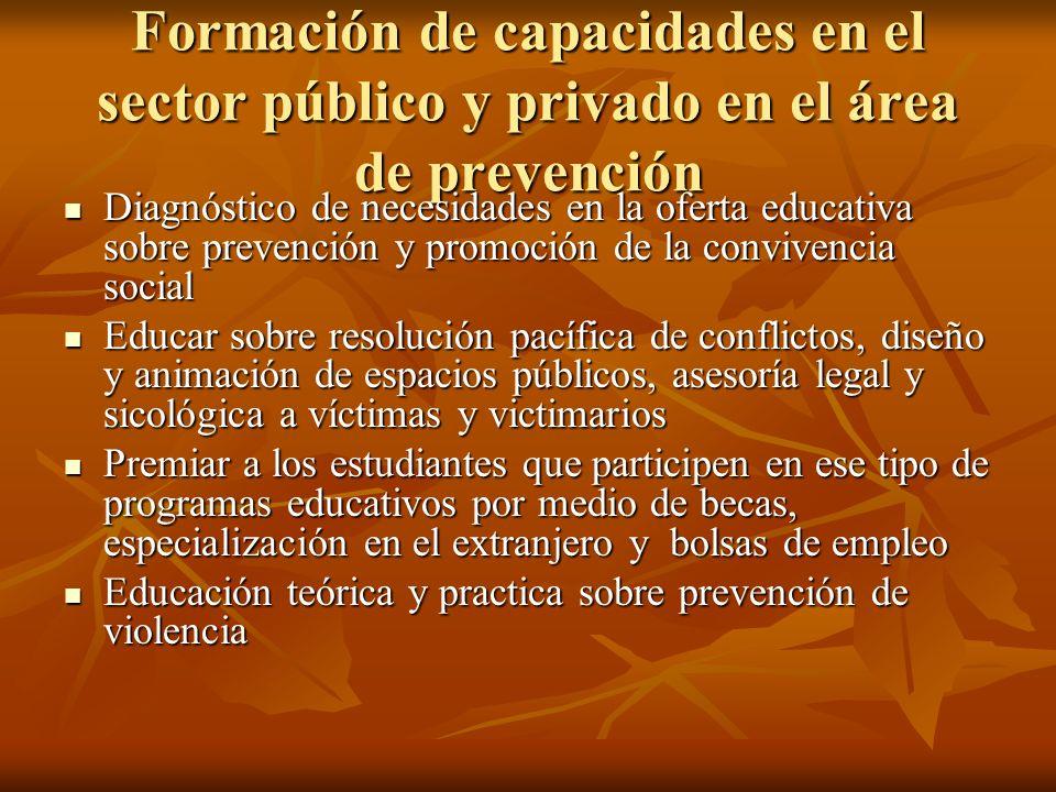 Formación de capacidades en el sector público y privado en el área de prevención Diagnóstico de necesidades en la oferta educativa sobre prevención y
