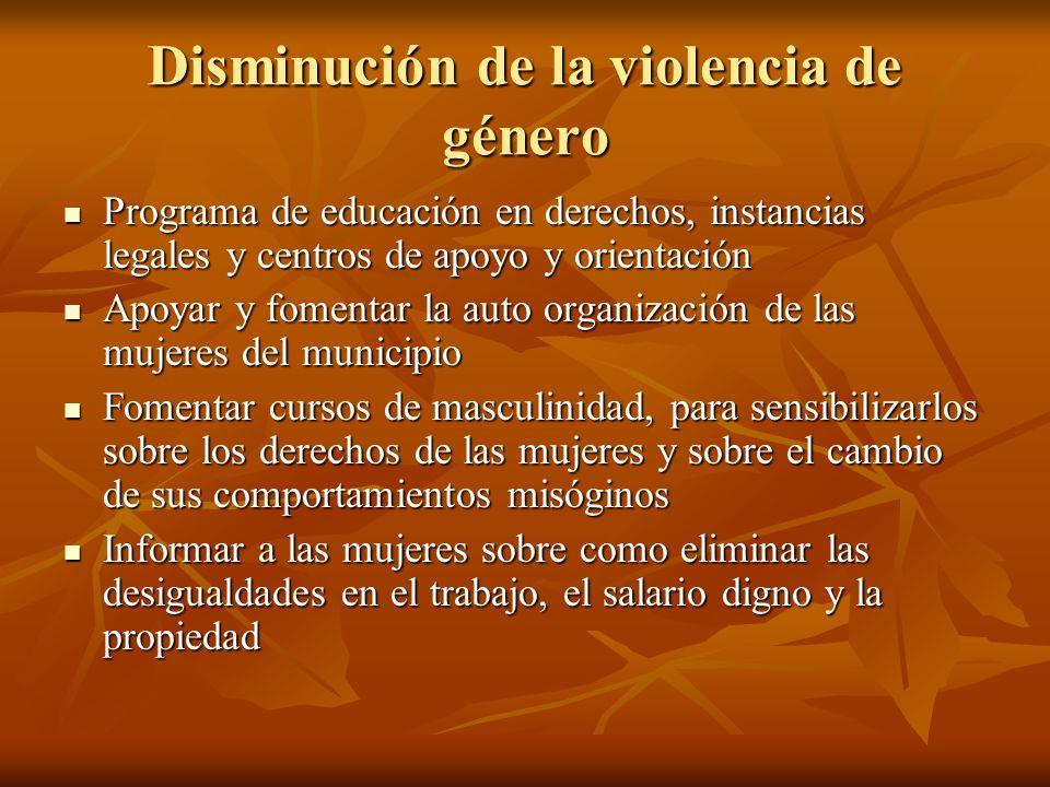Disminución de la violencia de género Programa de educación en derechos, instancias legales y centros de apoyo y orientación Programa de educación en