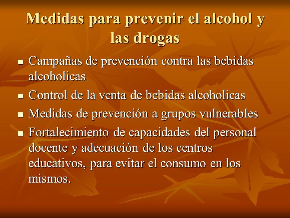 Medidas para prevenir el alcohol y las drogas Campañas de prevención contra las bebidas alcoholicas Campañas de prevención contra las bebidas alcoholi
