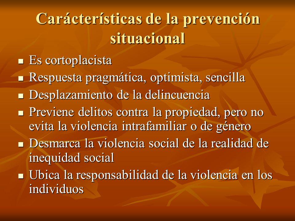 Carácterísticas de la prevención situacional Es cortoplacista Es cortoplacista Respuesta pragmática, optimista, sencilla Respuesta pragmática, optimis