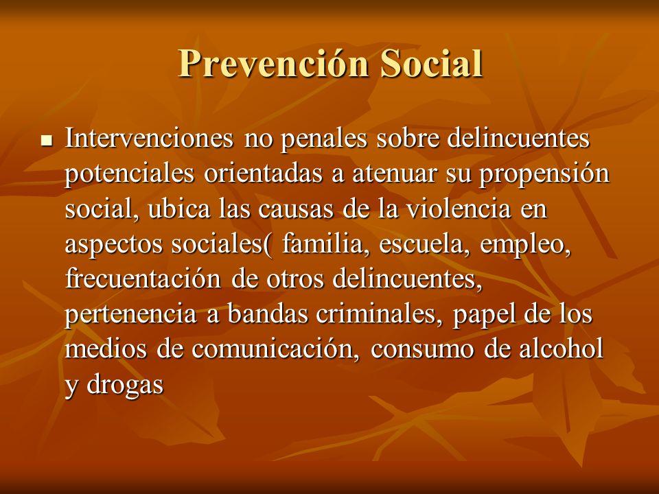 Prevención Social Intervenciones no penales sobre delincuentes potenciales orientadas a atenuar su propensión social, ubica las causas de la violencia