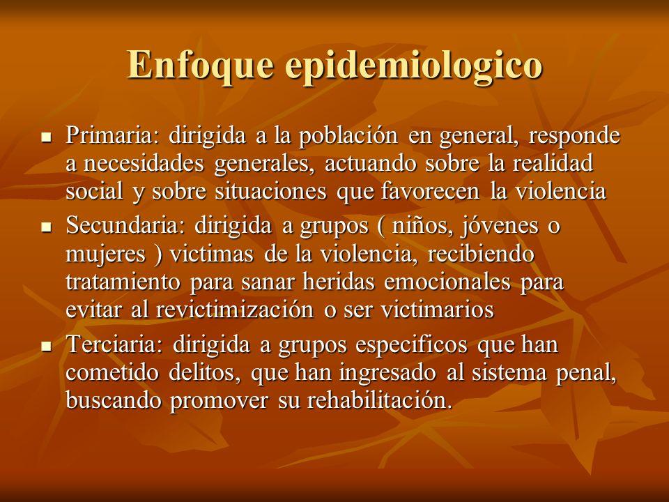 Enfoque epidemiologico Primaria: dirigida a la población en general, responde a necesidades generales, actuando sobre la realidad social y sobre situa