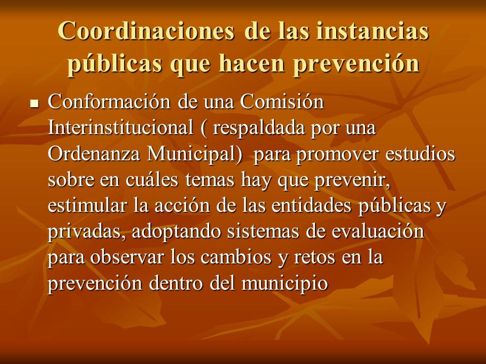 Coordinaciones de las instancias públicas que hacen prevención Conformación de una Comisión Interinstitucional ( respaldada por una Ordenanza Municipa