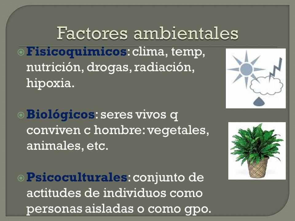 Fisicoquimicos: clima, temp, nutrición, drogas, radiación, hipoxia. Biológicos: seres vivos q conviven c hombre: vegetales, animales, etc. Psicocultur