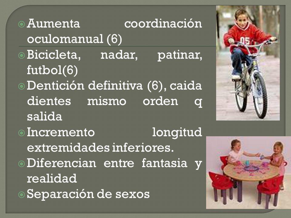 Aumenta coordinación oculomanual (6) Bicicleta, nadar, patinar, futbol(6) Dentición definitiva (6), caida dientes mismo orden q salida Incremento long