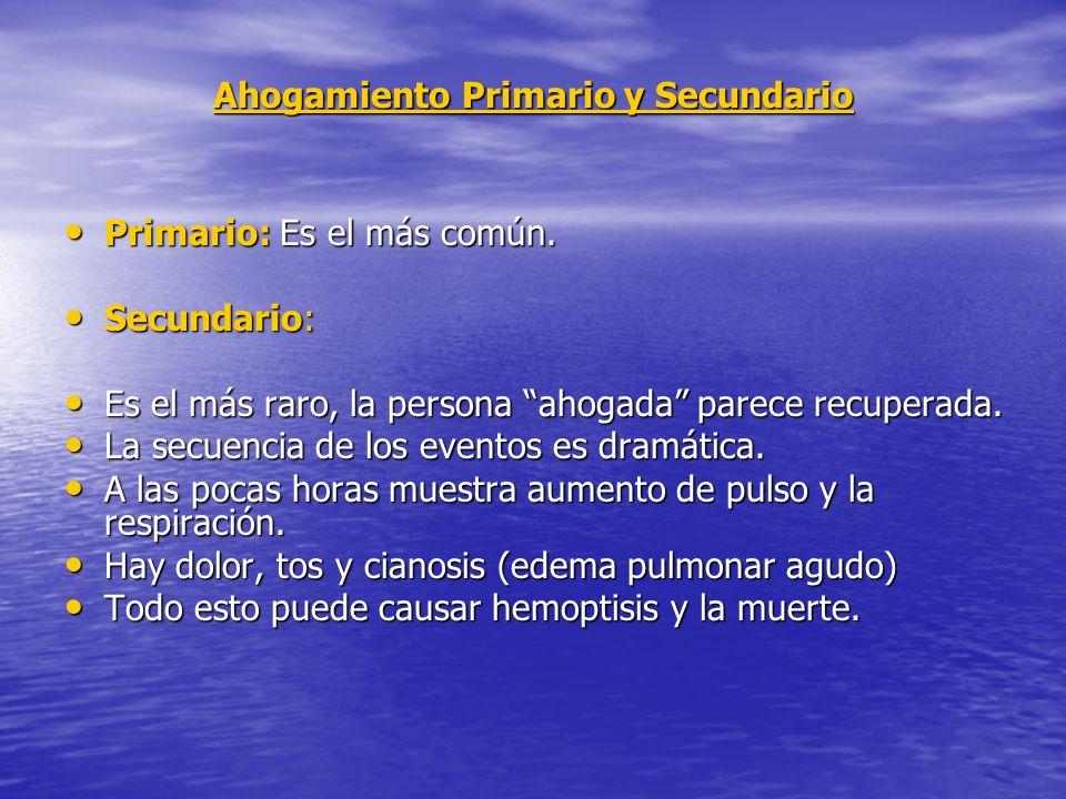 Ahogamiento Primario y Secundario Primario: Es el más común.