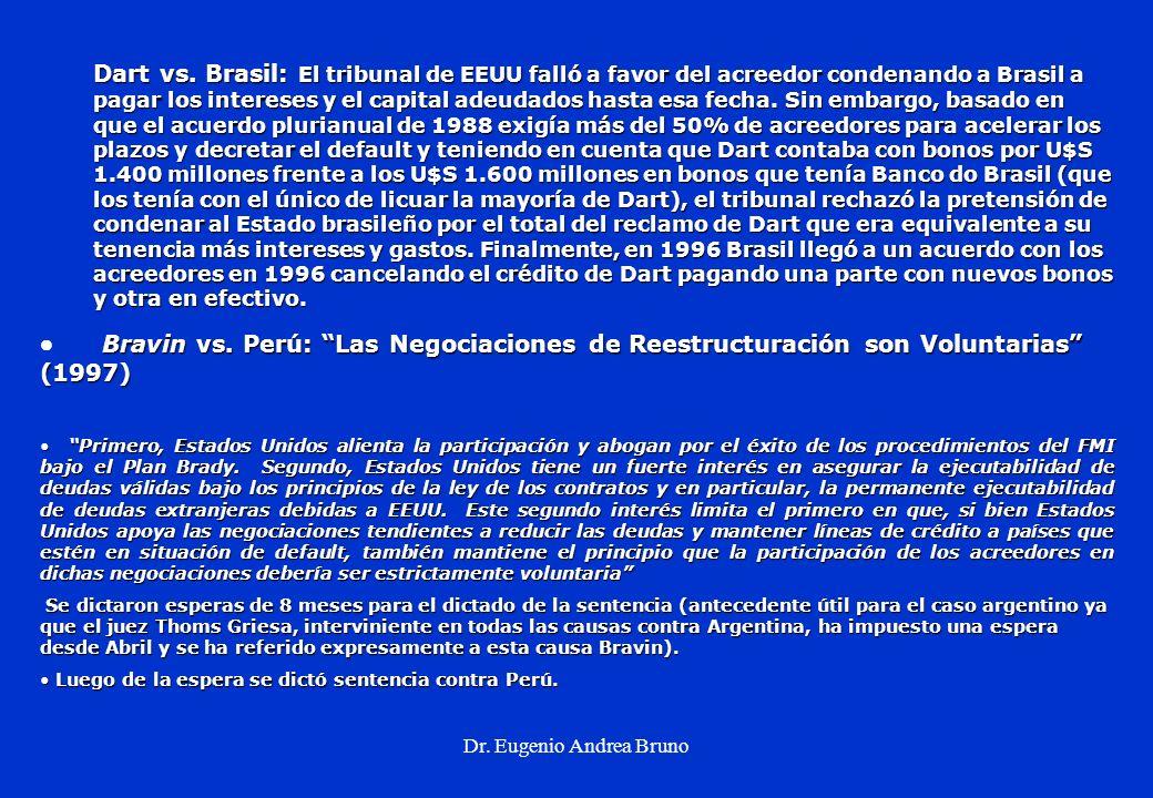 Dr. Eugenio Andrea Bruno Dart vs. Brasil: El tribunal de EEUU falló a favor del acreedor condenando a Brasil a pagar los intereses y el capital adeuda