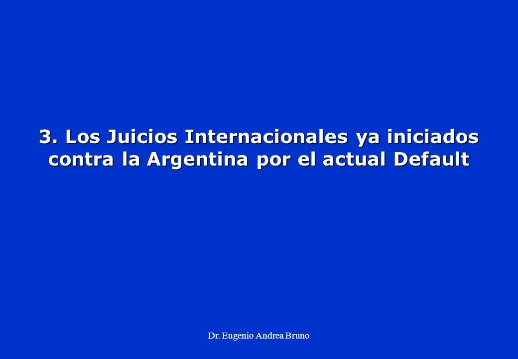 Dr. Eugenio Andrea Bruno 3. Los Juicios Internacionales ya iniciados contra la Argentina por el actual Default