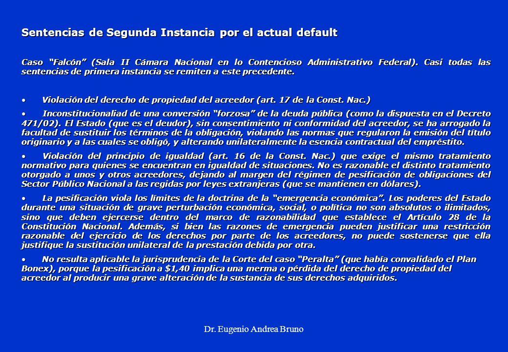 Dr. Eugenio Andrea Bruno Sentencias de Segunda Instancia por el actual default Caso Falcón (Sala II Cámara Nacional en lo Contencioso Administrativo F