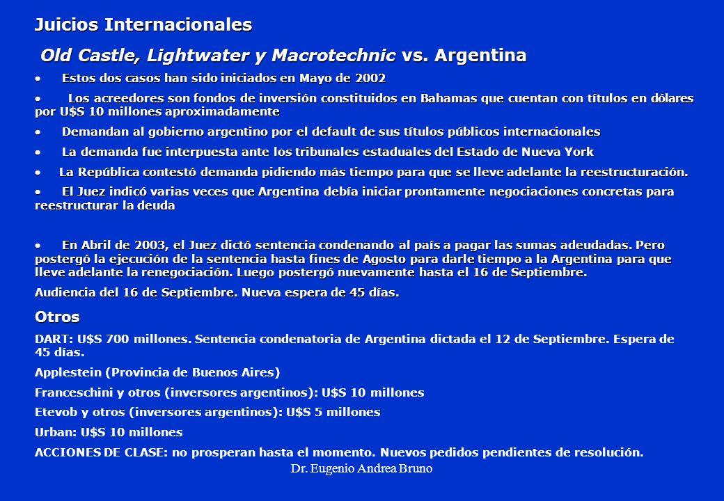 Dr. Eugenio Andrea Bruno Juicios Internacionales Old Castle, Lightwater y Macrotechnic vs. Argentina Old Castle, Lightwater y Macrotechnic vs. Argenti