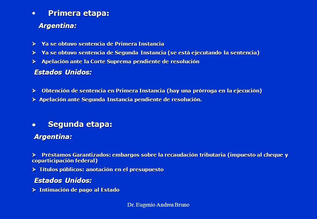 Dr. Eugenio Andrea Bruno Primera etapa: Argentina: Argentina: Ya se obtuvo sentencia de Primera Instancia Ya se obtuvo sentencia de Primera Instancia