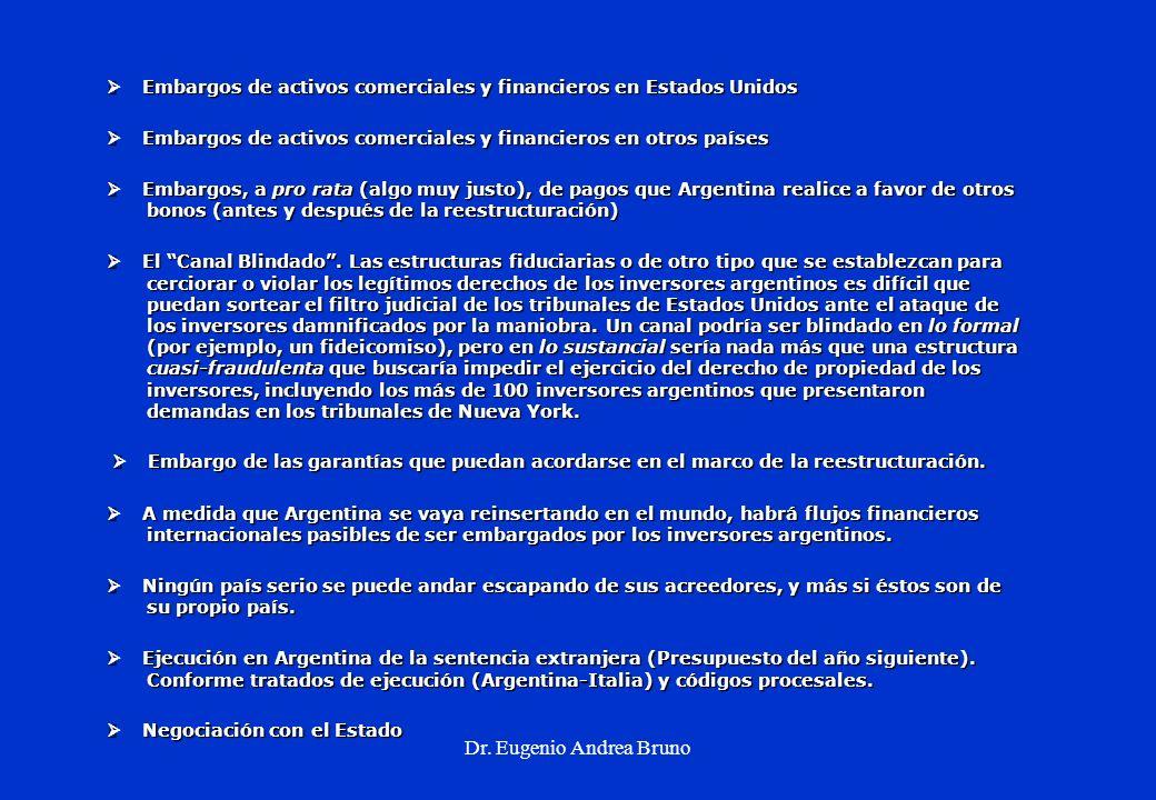 Dr. Eugenio Andrea Bruno Embargos de activos comerciales y financieros en Estados Unidos Embargos de activos comerciales y financieros en Estados Unid