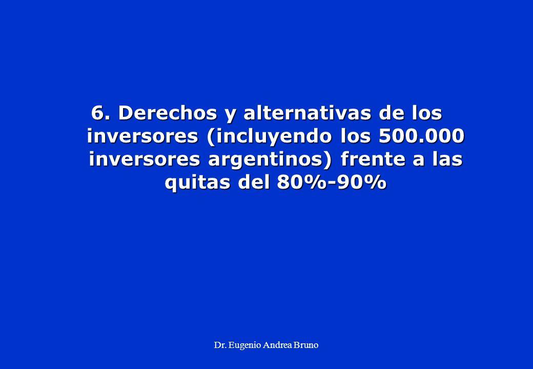 Dr. Eugenio Andrea Bruno 6. Derechos y alternativas de los inversores (incluyendo los 500.000 inversores argentinos) frente a las quitas del 80%-90%