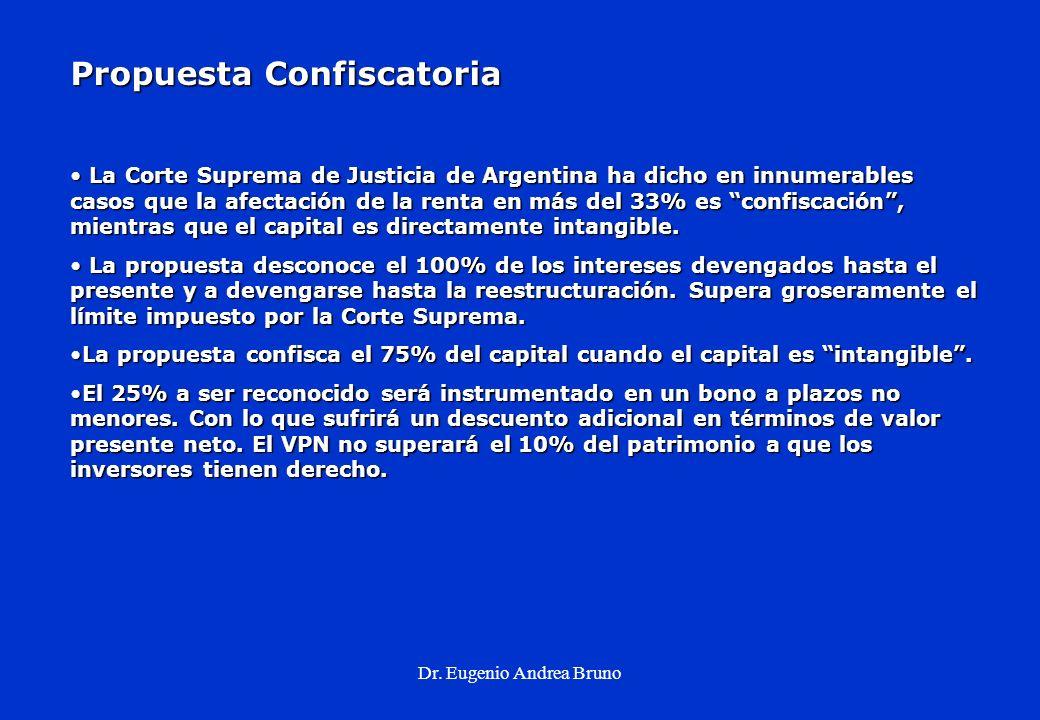 Dr. Eugenio Andrea Bruno Propuesta Confiscatoria La Corte Suprema de Justicia de Argentina ha dicho en innumerables casos que la afectación de la rent