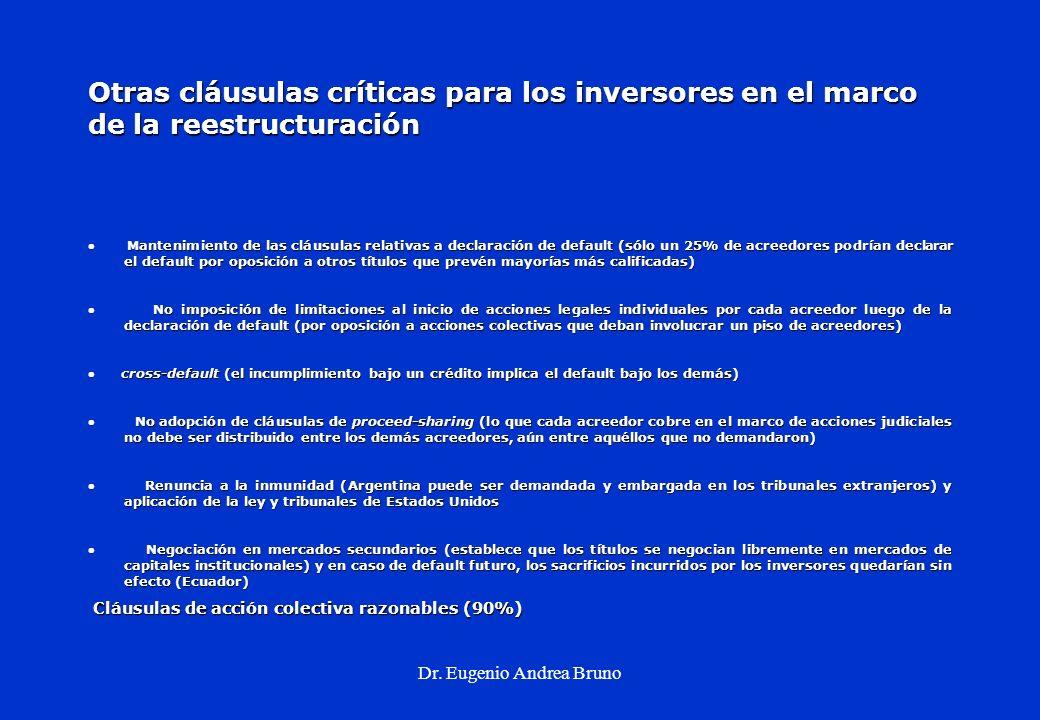Dr. Eugenio Andrea Bruno Otras cláusulas críticas para los inversores en el marco de la reestructuración Mantenimiento de las cláusulas relativas a de