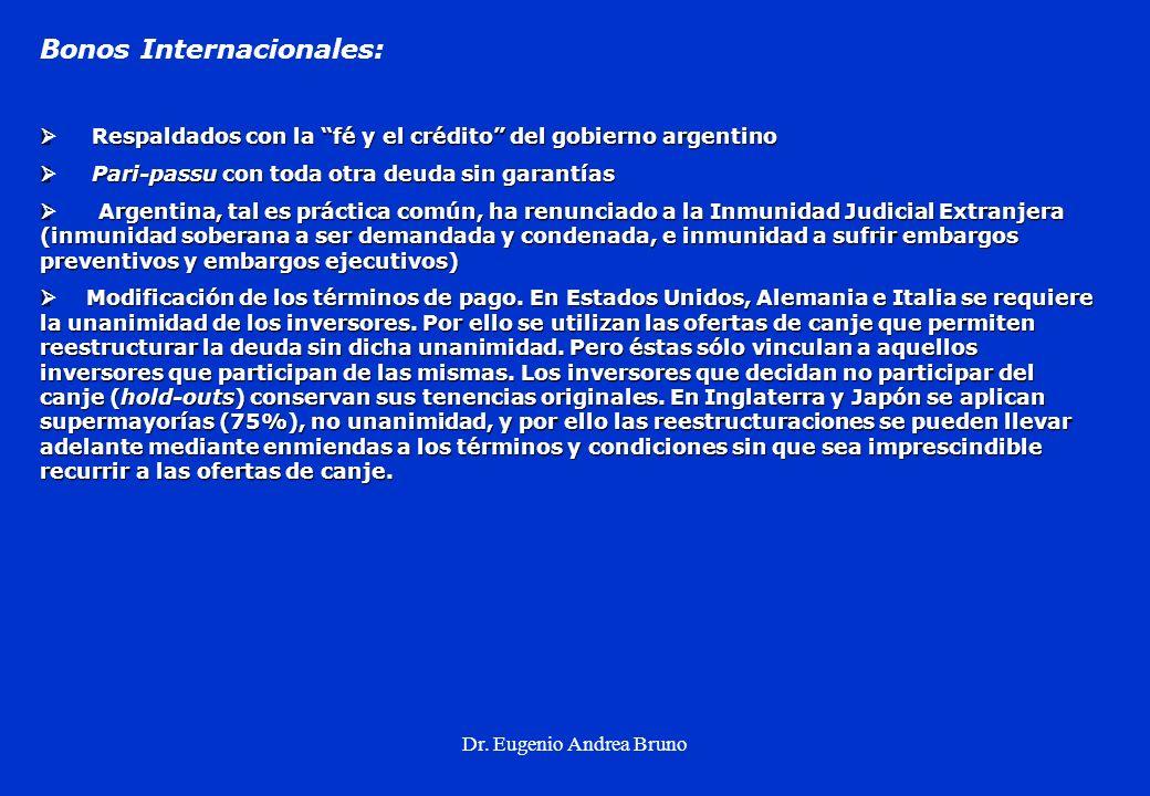 Dr. Eugenio Andrea Bruno Bonos Internacionales: Respaldados con la fé y el crédito del gobierno argentino Respaldados con la fé y el crédito del gobie