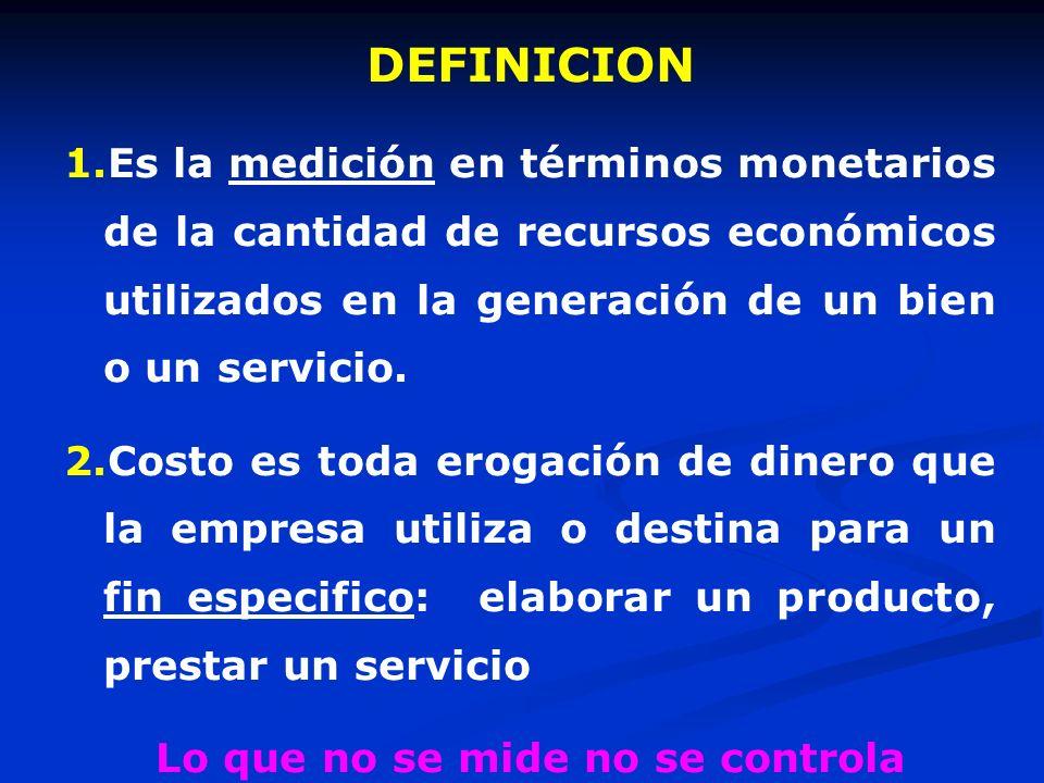 DEFINICION 1.Es la medición en términos monetarios de la cantidad de recursos económicos utilizados en la generación de un bien o un servicio. 2.Costo