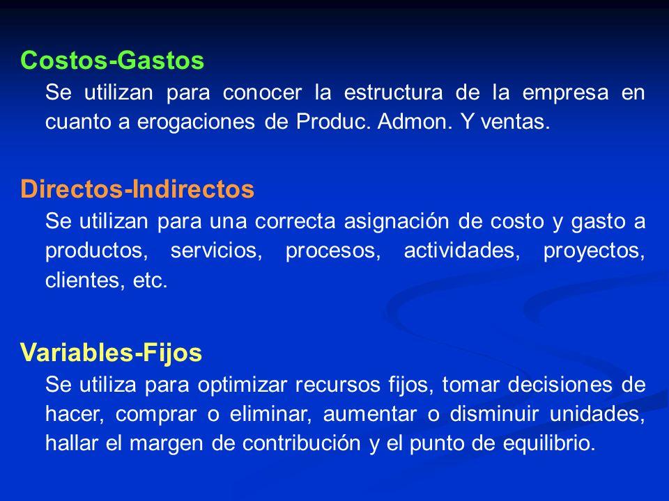 Costos-Gastos Se utilizan para conocer la estructura de la empresa en cuanto a erogaciones de Produc. Admon. Y ventas. Directos-Indirectos Se utilizan