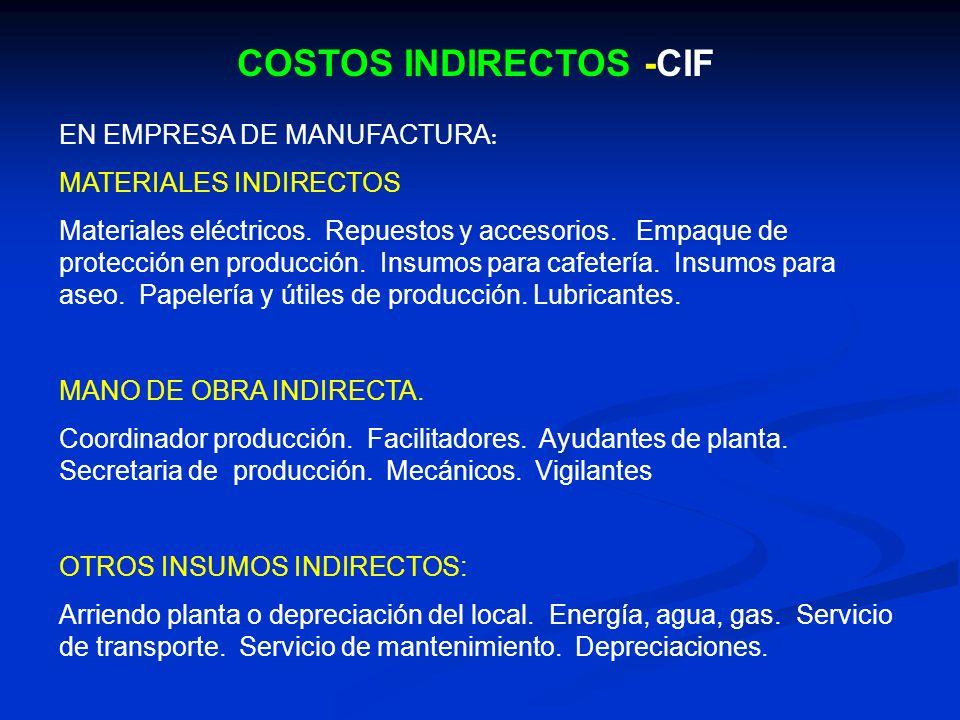 COSTOS INDIRECTOS -CIF EN EMPRESA DE MANUFACTURA : MATERIALES INDIRECTOS Materiales eléctricos. Repuestos y accesorios. Empaque de protección en produ