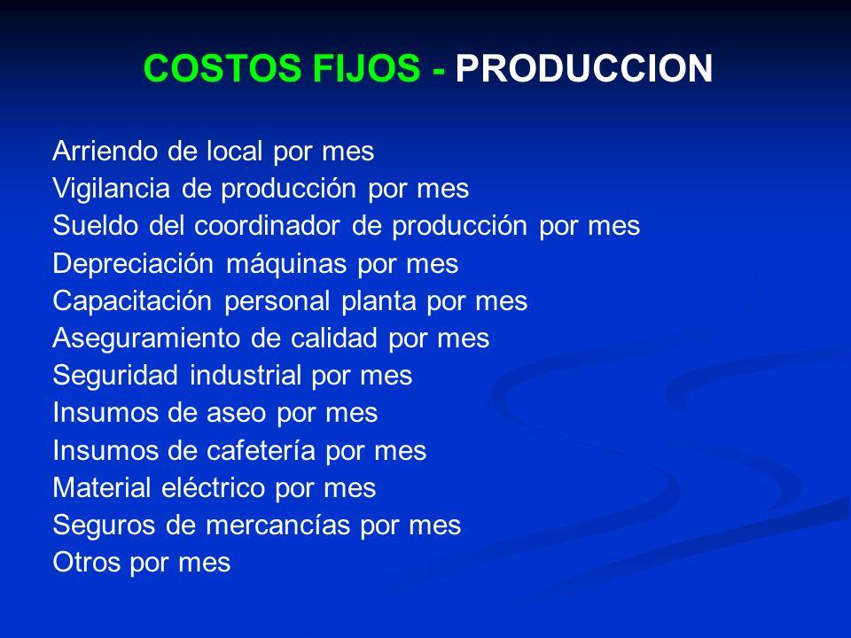 COSTOS FIJOS - PRODUCCION Arriendo de local por mes Vigilancia de producción por mes Sueldo del coordinador de producción por mes Depreciación máquina