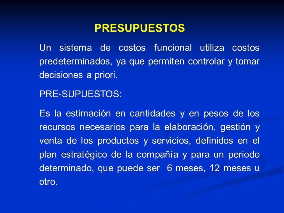 Un sistema de costos funcional utiliza costos predeterminados, ya que permiten controlar y tomar decisiones a priori. PRE-SUPUESTOS: Es la estimación