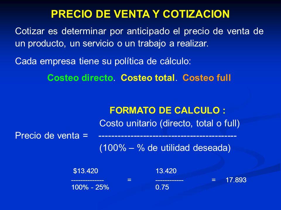 PRECIO DE VENTA Y COTIZACION Cotizar es determinar por anticipado el precio de venta de un producto, un servicio o un trabajo a realizar. Cada empresa