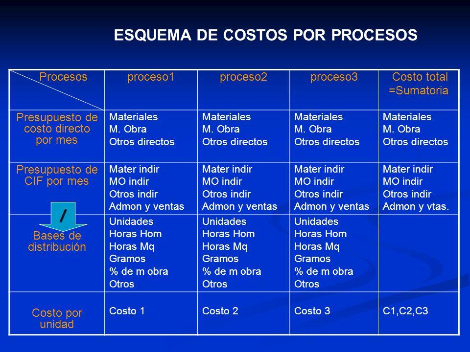 ESQUEMA DE COSTOS POR PROCESOS Procesosproceso1proceso2proceso3 Costo total =Sumatoria Presupuesto de costo directo por mes Materiales M. Obra Otros d