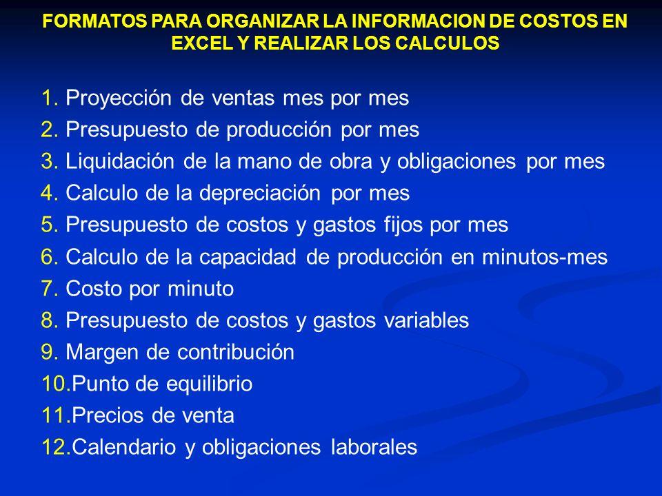 FORMATOS PARA ORGANIZAR LA INFORMACION DE COSTOS EN EXCEL Y REALIZAR LOS CALCULOS 1.Proyección de ventas mes por mes 2.Presupuesto de producción por m