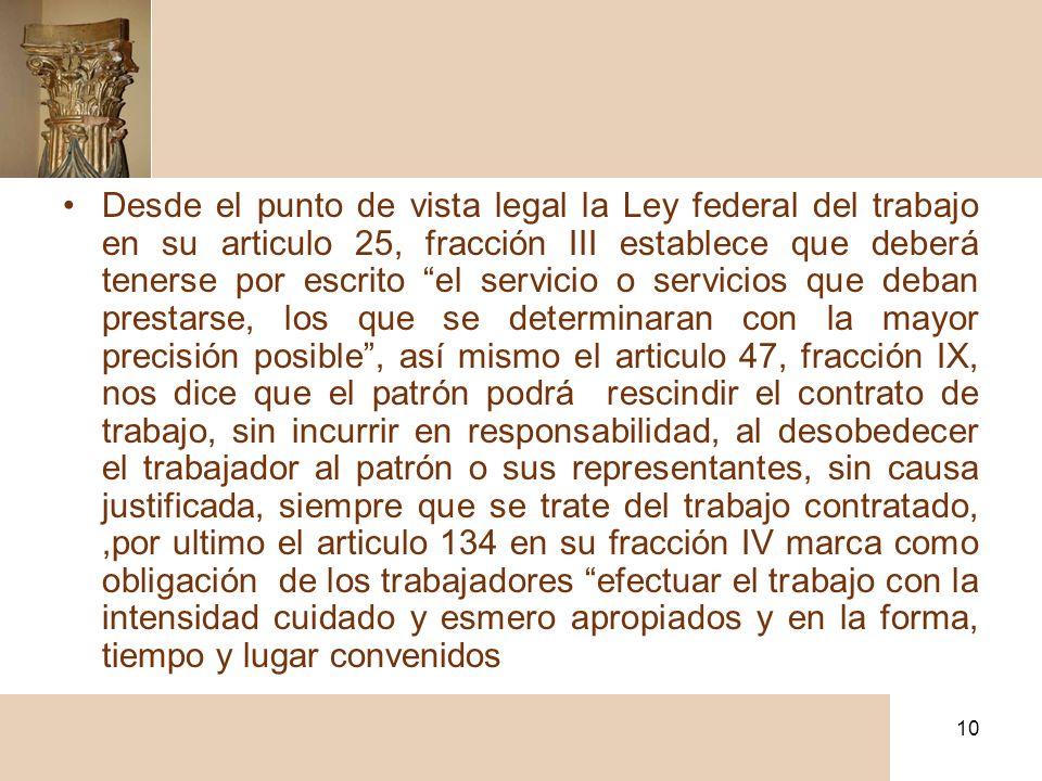 10 Desde el punto de vista legal la Ley federal del trabajo en su articulo 25, fracción III establece que deberá tenerse por escrito el servicio o ser