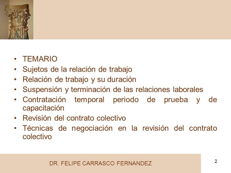 2 TEMARIO Sujetos de la relación de trabajo Relación de trabajo y su duración Suspensión y terminación de las relaciones laborales Contratación tempor
