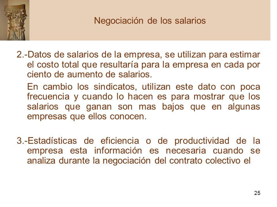 25 2.-Datos de salarios de la empresa, se utilizan para estimar el costo total que resultaría para la empresa en cada por ciento de aumento de salario