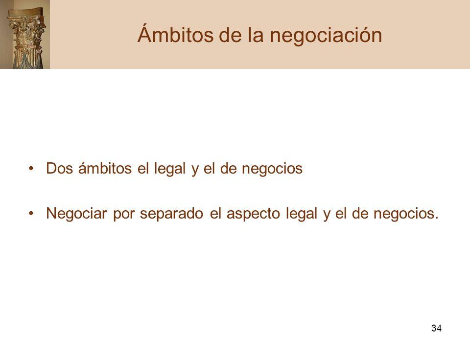 34 Dos ámbitos el legal y el de negocios Negociar por separado el aspecto legal y el de negocios. Ámbitos de la negociación