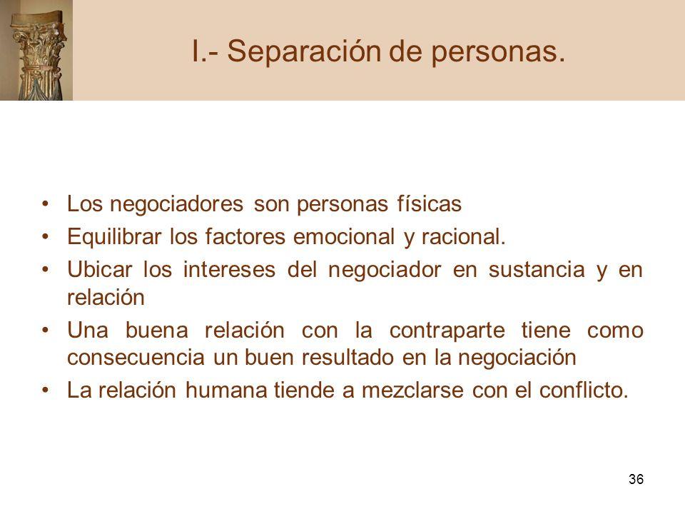 36 Los negociadores son personas físicas Equilibrar los factores emocional y racional. Ubicar los intereses del negociador en sustancia y en relación