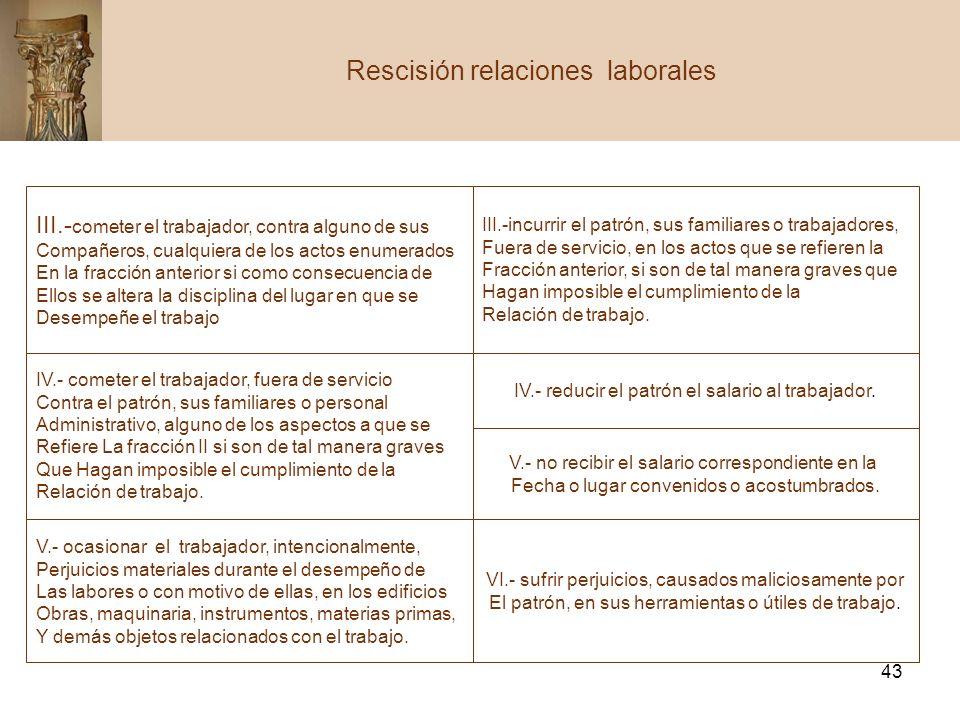 43 Rescisión relaciones laborales III.- cometer el trabajador, contra alguno de sus Compañeros, cualquiera de los actos enumerados En la fracción ante