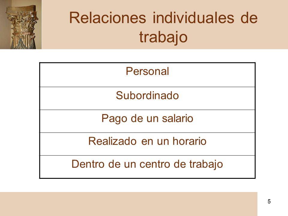 5 Personal Subordinado Pago de un salario Realizado en un horario Dentro de un centro de trabajo Relaciones individuales de trabajo