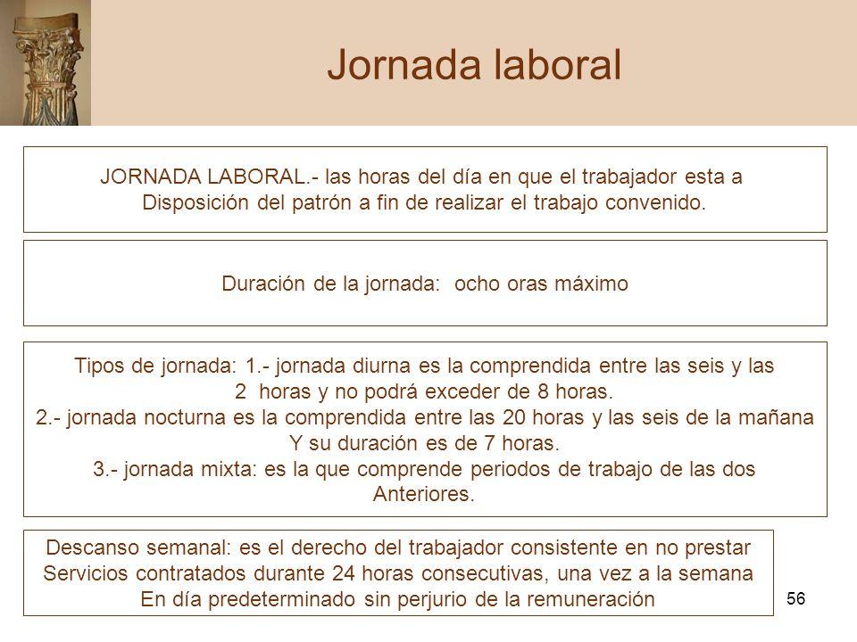56 Jornada laboral JORNADA LABORAL.- las horas del día en que el trabajador esta a Disposición del patrón a fin de realizar el trabajo convenido. Dura