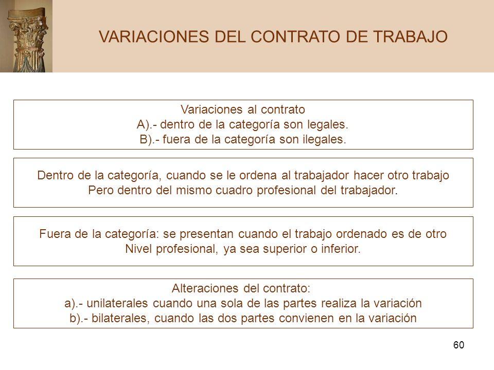 60 VARIACIONES DEL CONTRATO DE TRABAJO Variaciones al contrato A).- dentro de la categoría son legales. B).- fuera de la categoría son ilegales. Dentr
