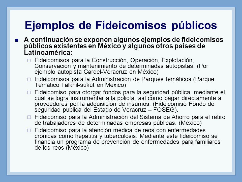 Ejemplos de Fideicomisos públicos A continuación se exponen algunos ejemplos de fideicomisos públicos existentes en México y algunos otros países de L