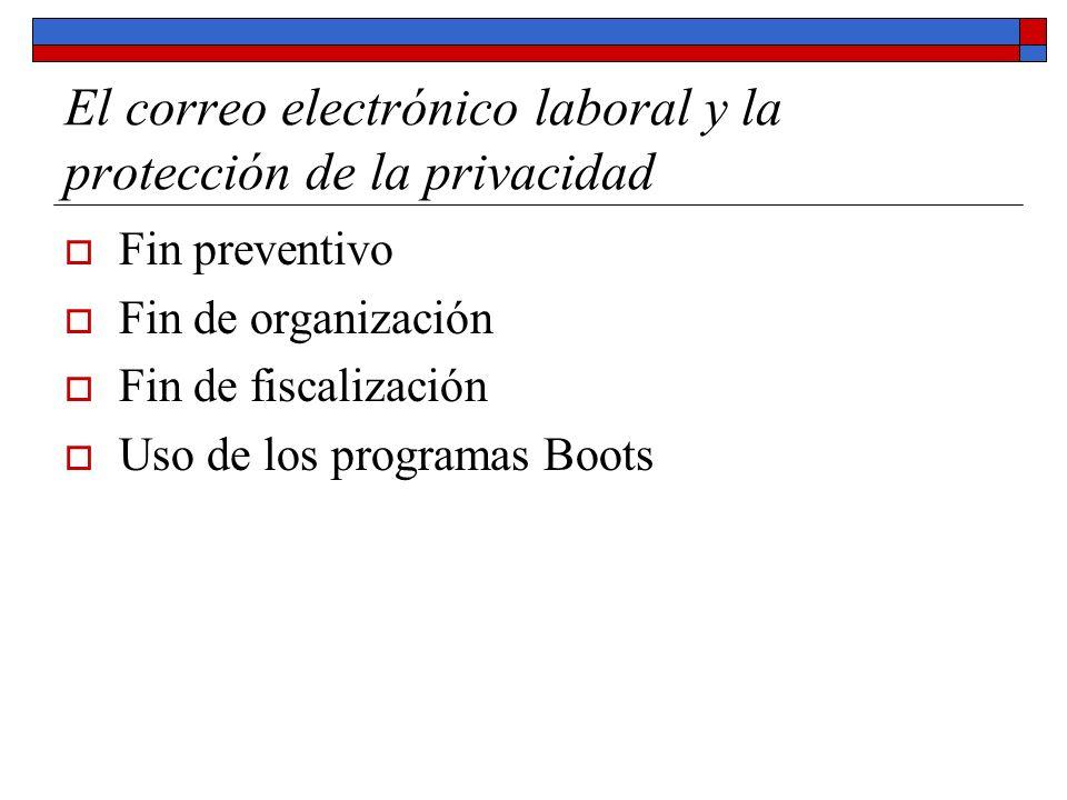 El correo electrónico laboral y la protección de la privacidad Fin preventivo Fin de organización Fin de fiscalización Uso de los programas Boots