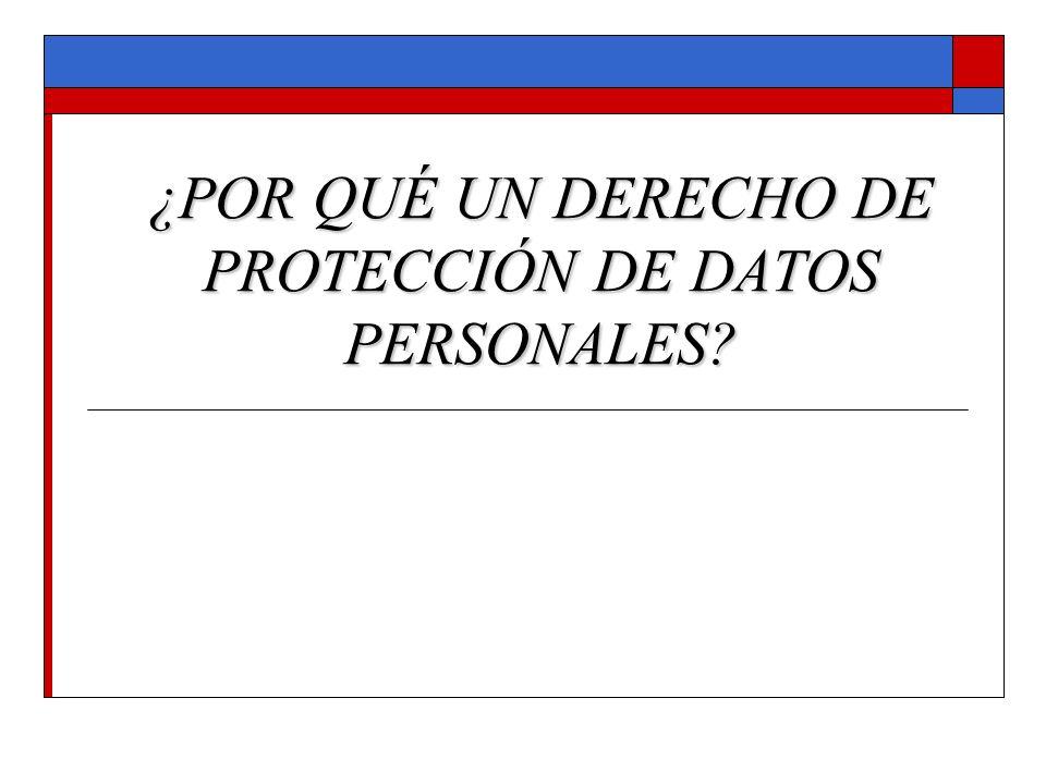 ¿POR QUÉ UN DERECHO DE PROTECCIÓN DE DATOS PERSONALES?