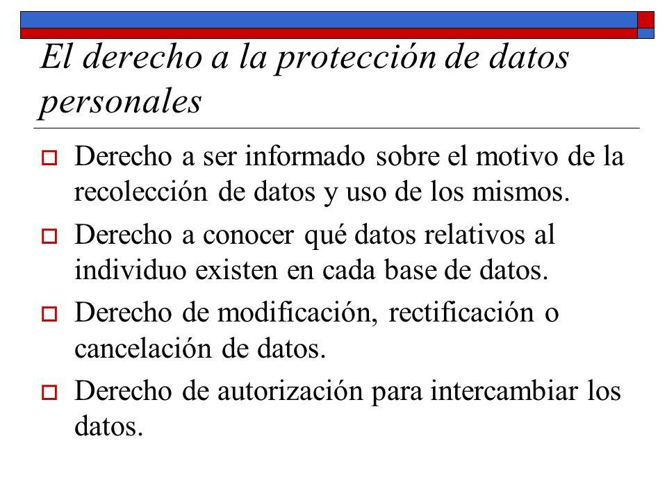 El derecho a la protección de datos personales Derecho a ser informado sobre el motivo de la recolección de datos y uso de los mismos. Derecho a conoc