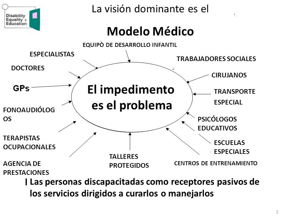 2 La visión dominante es el Modelo Médico Las personas discapacitadas como receptores pasivos de los servicios dirigidos a curarlos o manejarlos TALLE