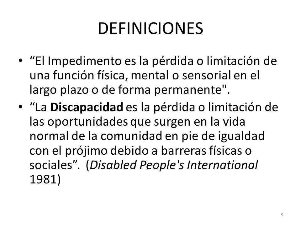 3 DEFINICIONES El Impedimento es la pérdida o limitación de una función física, mental o sensorial en el largo plazo o de forma permanente