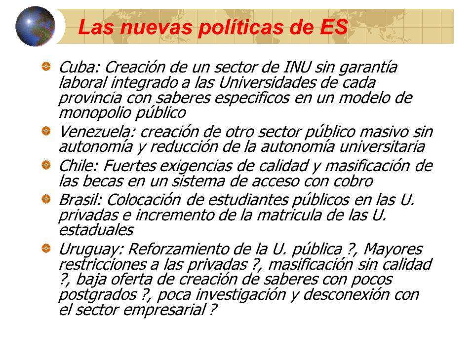 Las nuevas políticas de ES Cuba: Creación de un sector de INU sin garantía laboral integrado a las Universidades de cada provincia con saberes especif