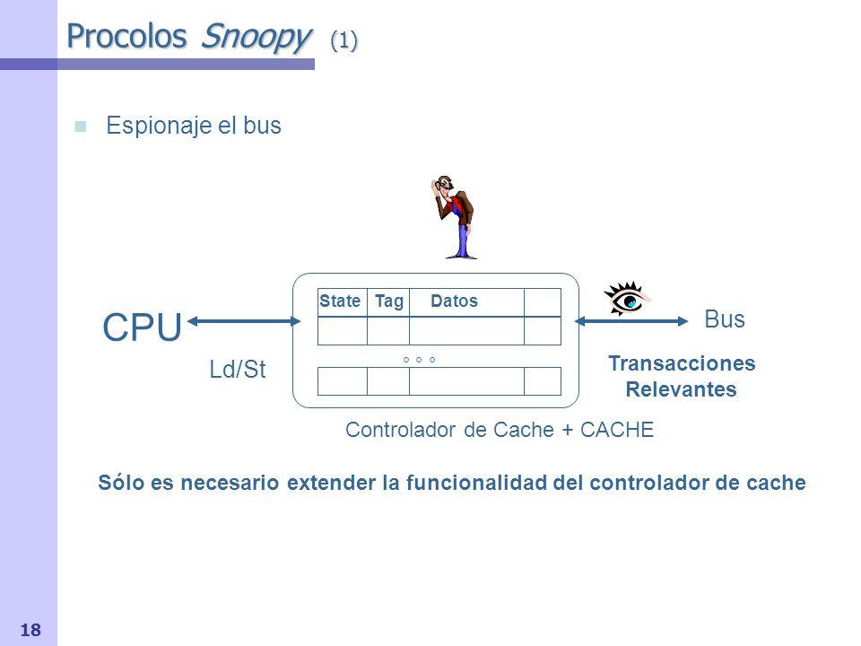 19 Procolos Snoopy (2) El controlador de cache puede por tanto: Recibir peticiones del procesador, examinar el estado de la cache, y emitir una petición al bus Espiar las peticiones que aparecen en el bus, y reaccionar a aquellas que afecten a la cache que controla Realmente, la comprobación del controlador es la misma comparación (tag-match) que se hace cuando llega petición del procesador Por todo esto, el hardware de multiprocesadores de memoria compartida por bus, es muy adecuado para los protocolos snoopy, pues requiere muy pocos cambios Hacer ejemplo 5-2, pg.